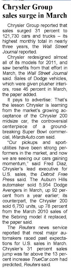 Sales Grow for Chrysler